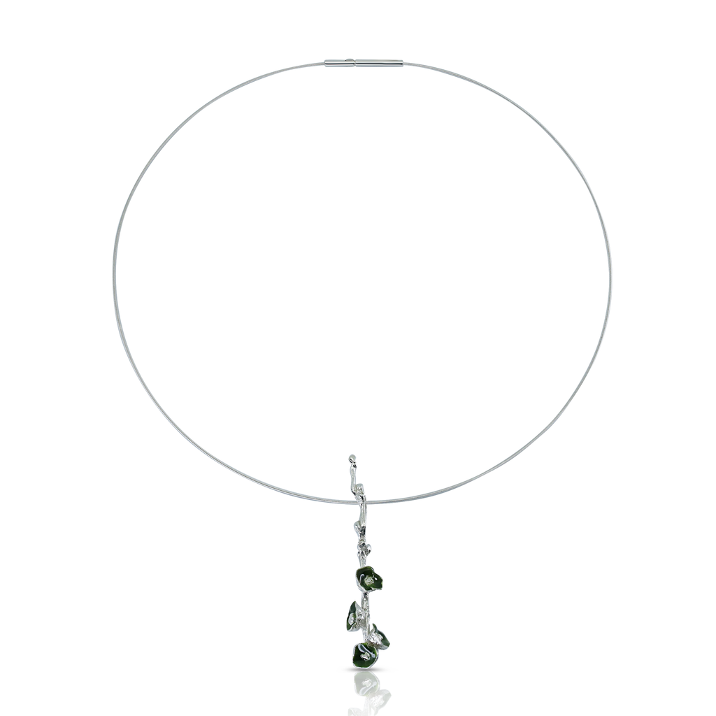 Kimah by Soraya Camacho - One-Of-A-Kind Silver and Green Enamel Poppy Designer Necklace on IndieFaves
