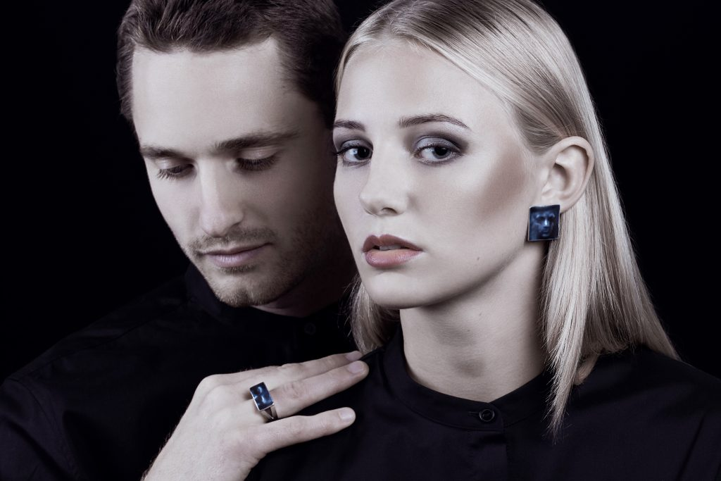 Model wearing Linn Sigrid Bratland  -  Silver Maskerade Designer Earrings on IndieFaves
