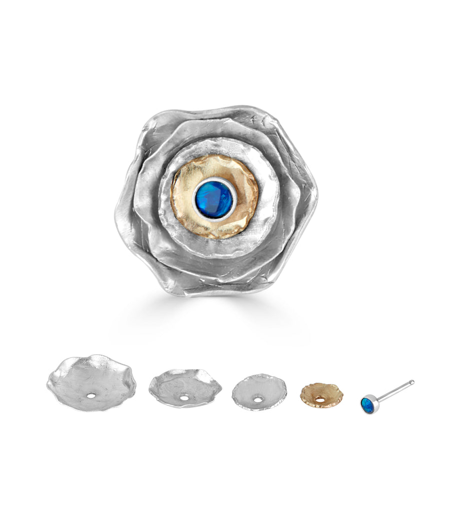 Sterling Silver with Boulder Opal Stackable Designer Studs on IndieFaves