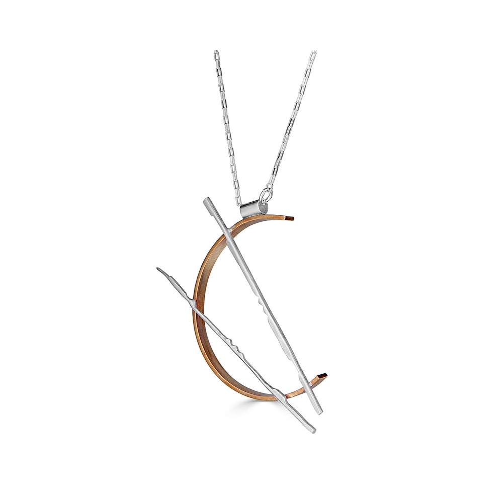 Sterling Silver Half Circle Designer Necklace on IndieFaves