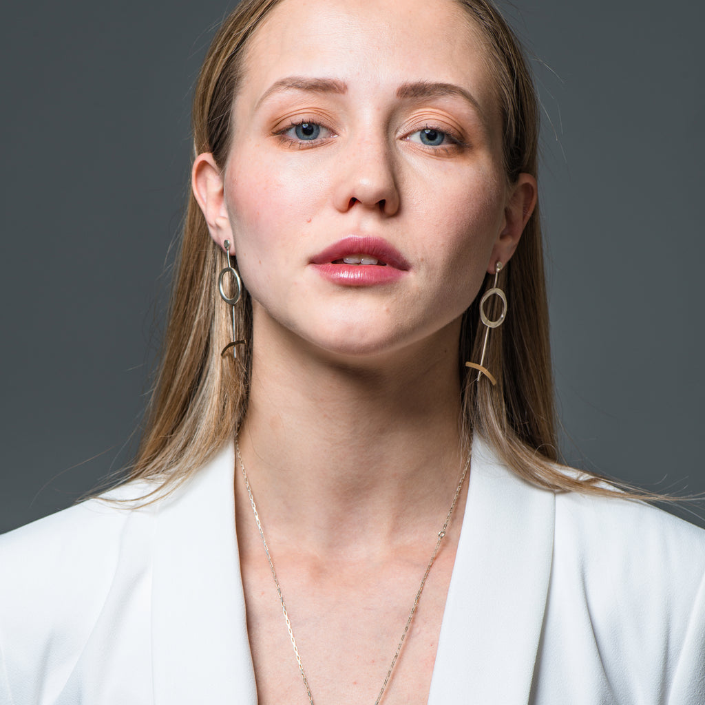Model wearing Recycled Sterling Silver Modern Lines Designer Earrings on IndieFaves