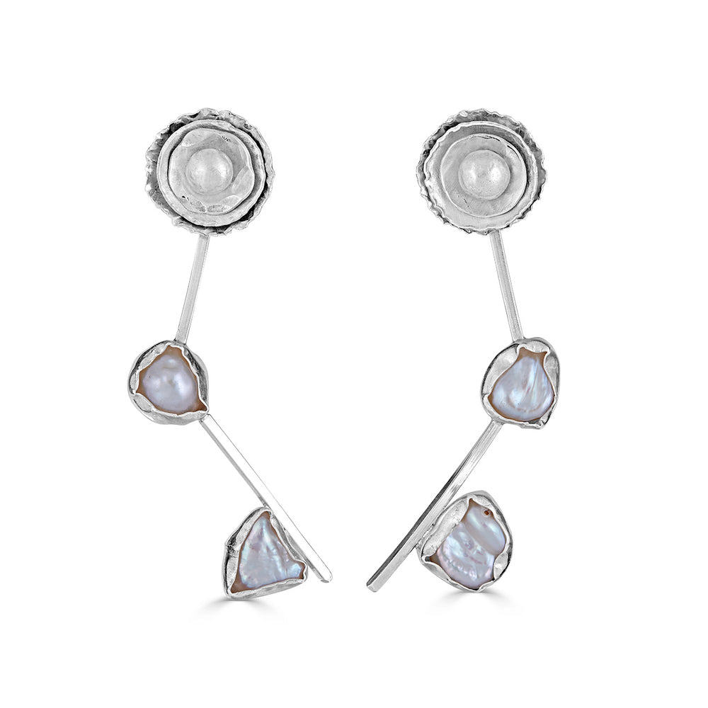Sterling Silver and Keshi Pearl I Do Designer Earrings on IndieFaves