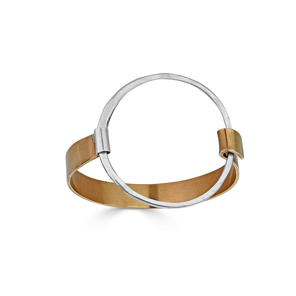 Sterling Silver and Bronze Open Circle Designer Bracelet on IndieFaves