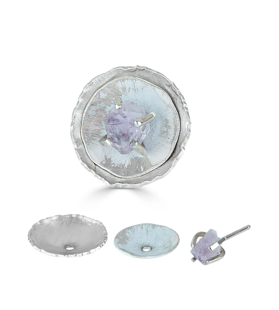 Sterling Silver with Amethyst Stackable Designer Studs on IndieFaves