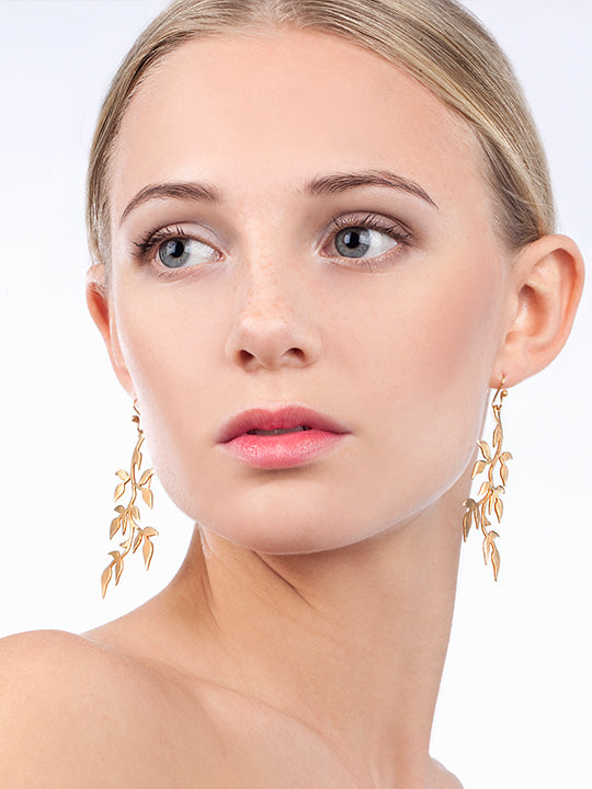 Model wearing Linn Sigrid Bratland - Gilded Sterling Silver Branch Designer Earrings on IndieFaves