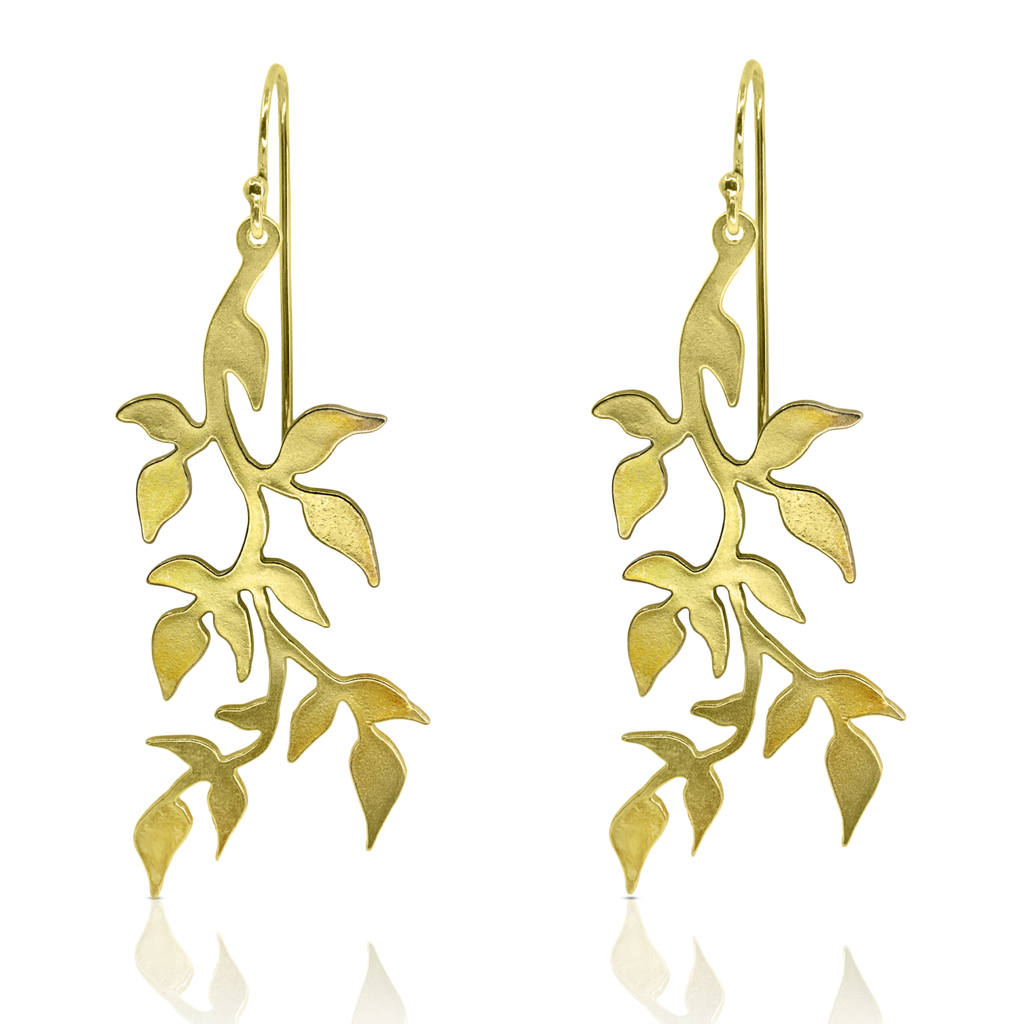 Linn Sigrid Bratland - Gilded Sterling Silver Branch Designer Earrings on IndieFaves