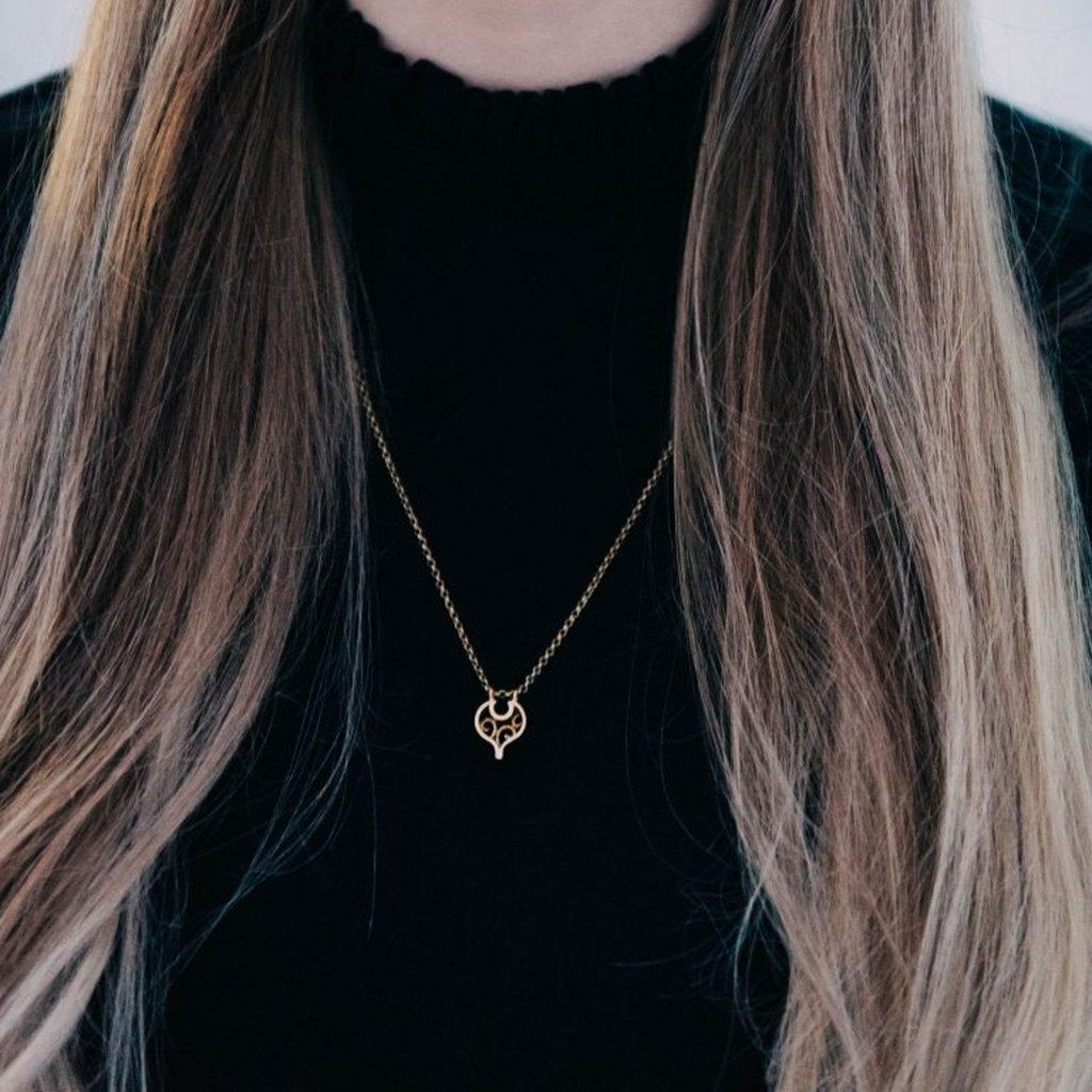 Model wearing Linn Sigrid Bratland - Gold Geometric Designer Necklace Editorial on IndieFaves