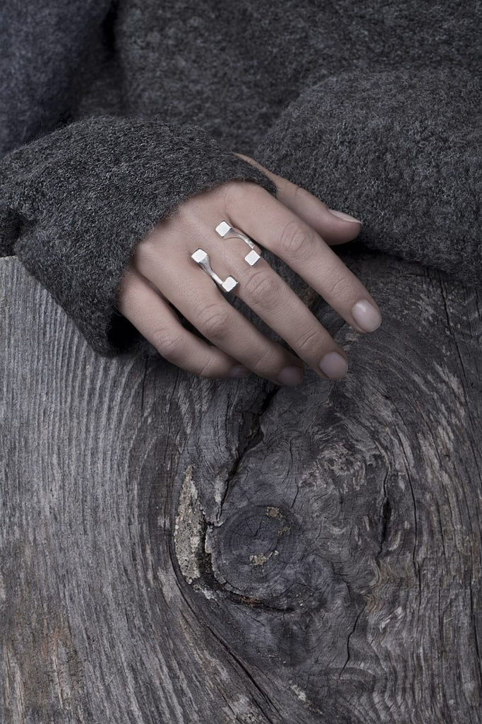 Model wearing Linn Sigrid Bratland - Sterling Silver Fundament Cube Designer Ring on IndieFaves