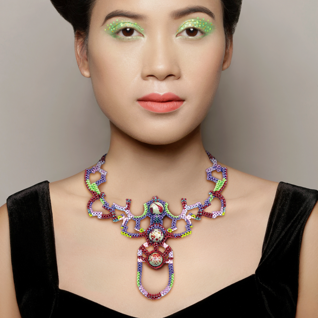 Model wearing Mara Colecchia - Japanese and Vintage Beads Beetle Designer Collar Necklace on IndieFaves
