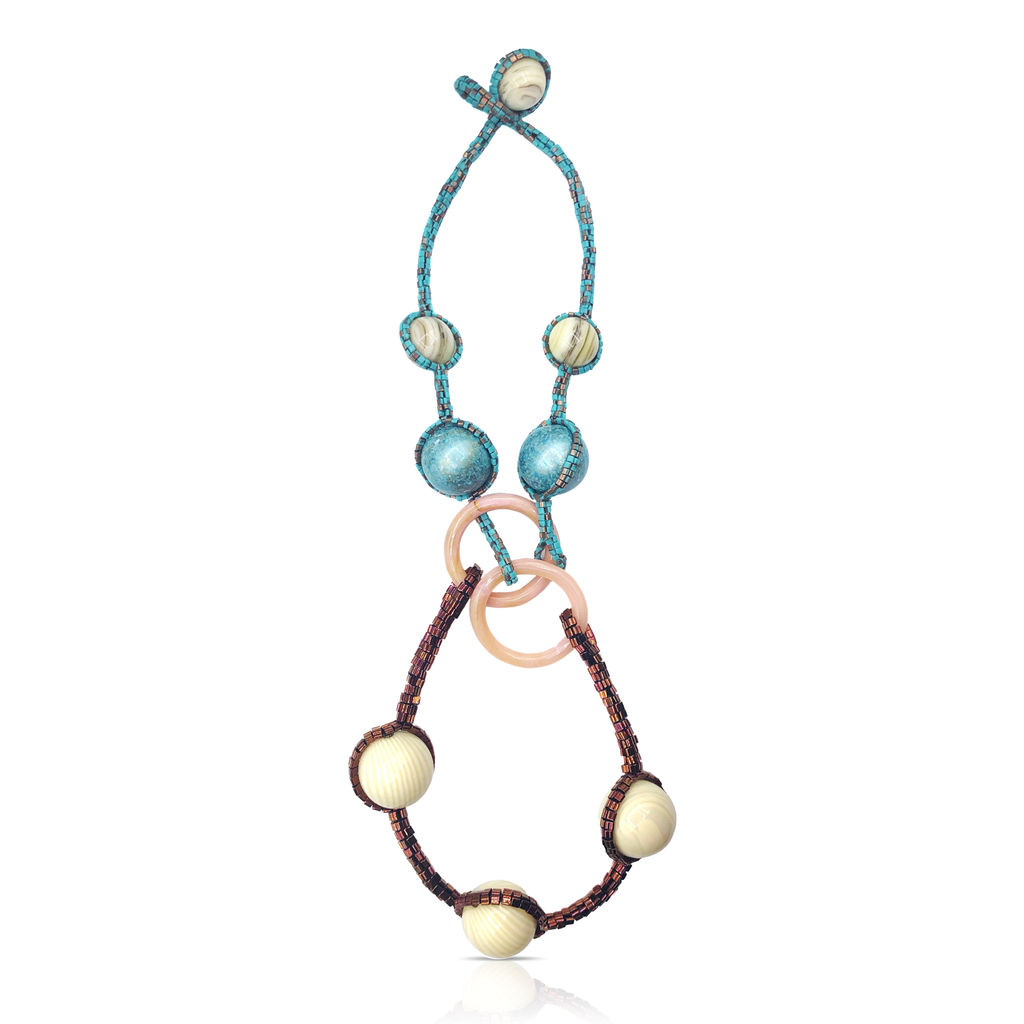Mara Colecchia - Japanese and Vintage Beads Big Orbits Designer Collar Necklace on IndieFaves