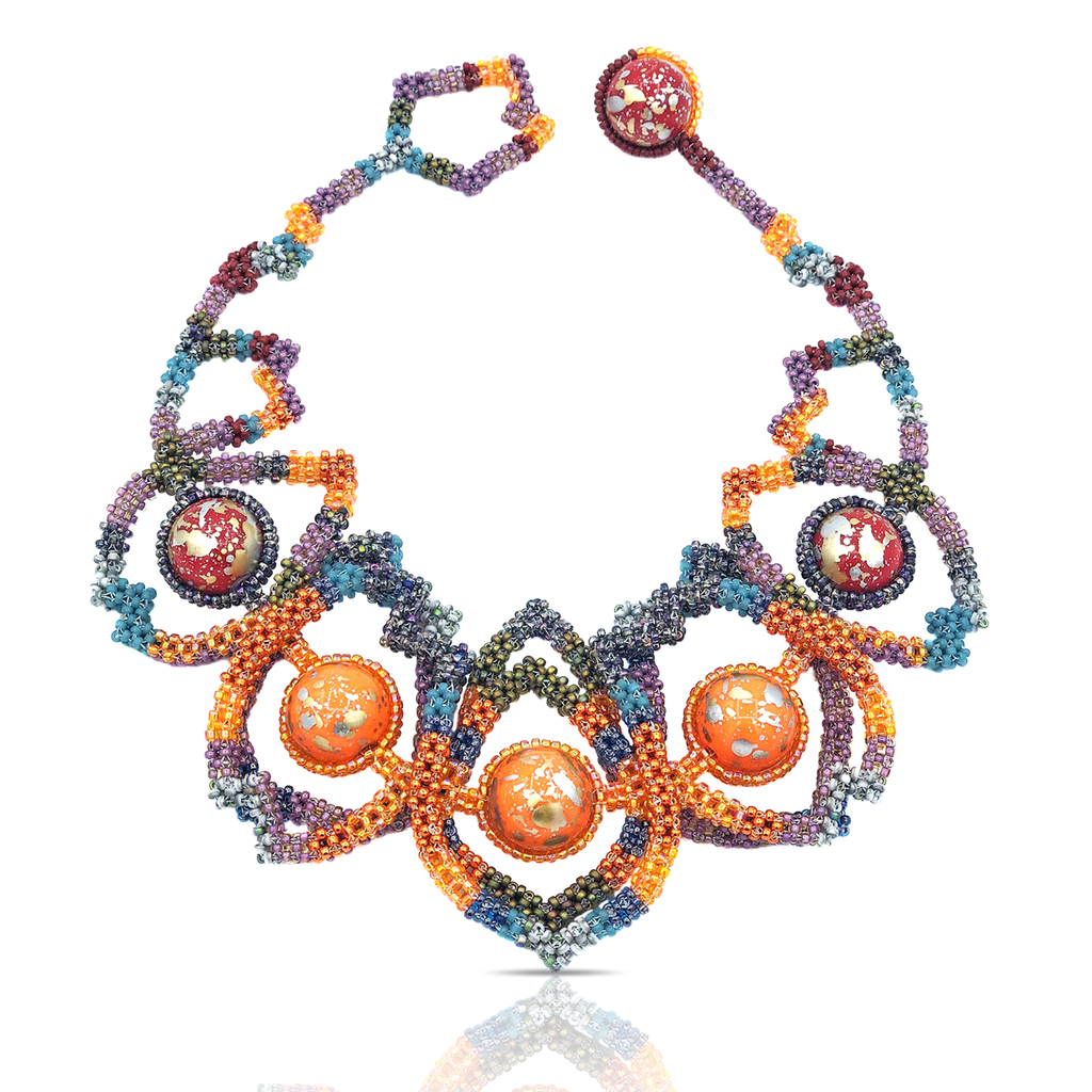 Designer Mara Colecchia Japanese and Vintage Beads Caterpillar Designer Collar Necklace on IndieFaves