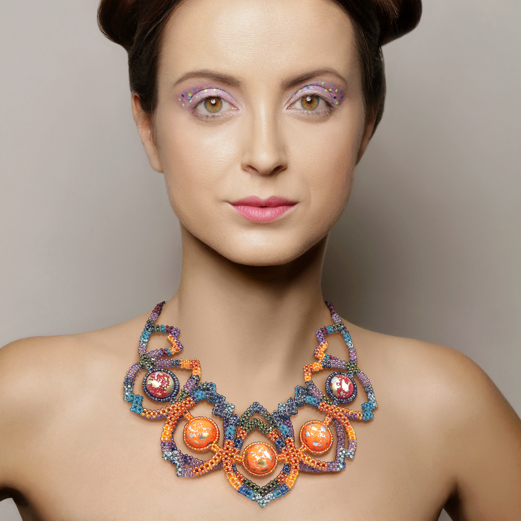 Model Wearing Mara Colecchia  Japanese and Vintage Beads Caterpillar Designer Collar Necklace on IndieFaves