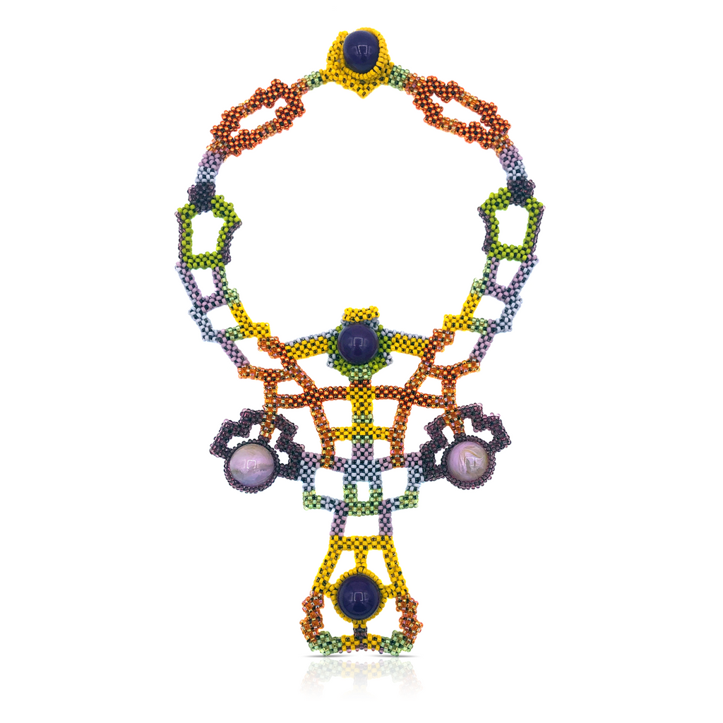 Mara Colecchia - Japanese and Vintage Beads Emperor`s Grooves Designer Collar Necklace on IndieFaves