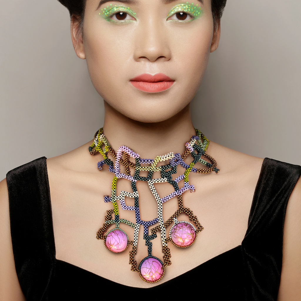Model wearing Japanese and Vintage Beads Wiener Werkstatte Designer Collar on IndieFaves