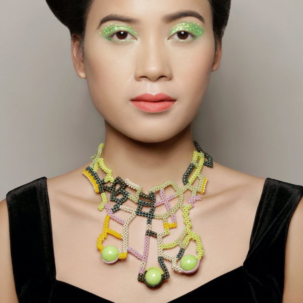 Model wearing Mara Colecchia -  Japanese and Vintage Beads Montezuma Collar Designer Necklace  on IndieFaves