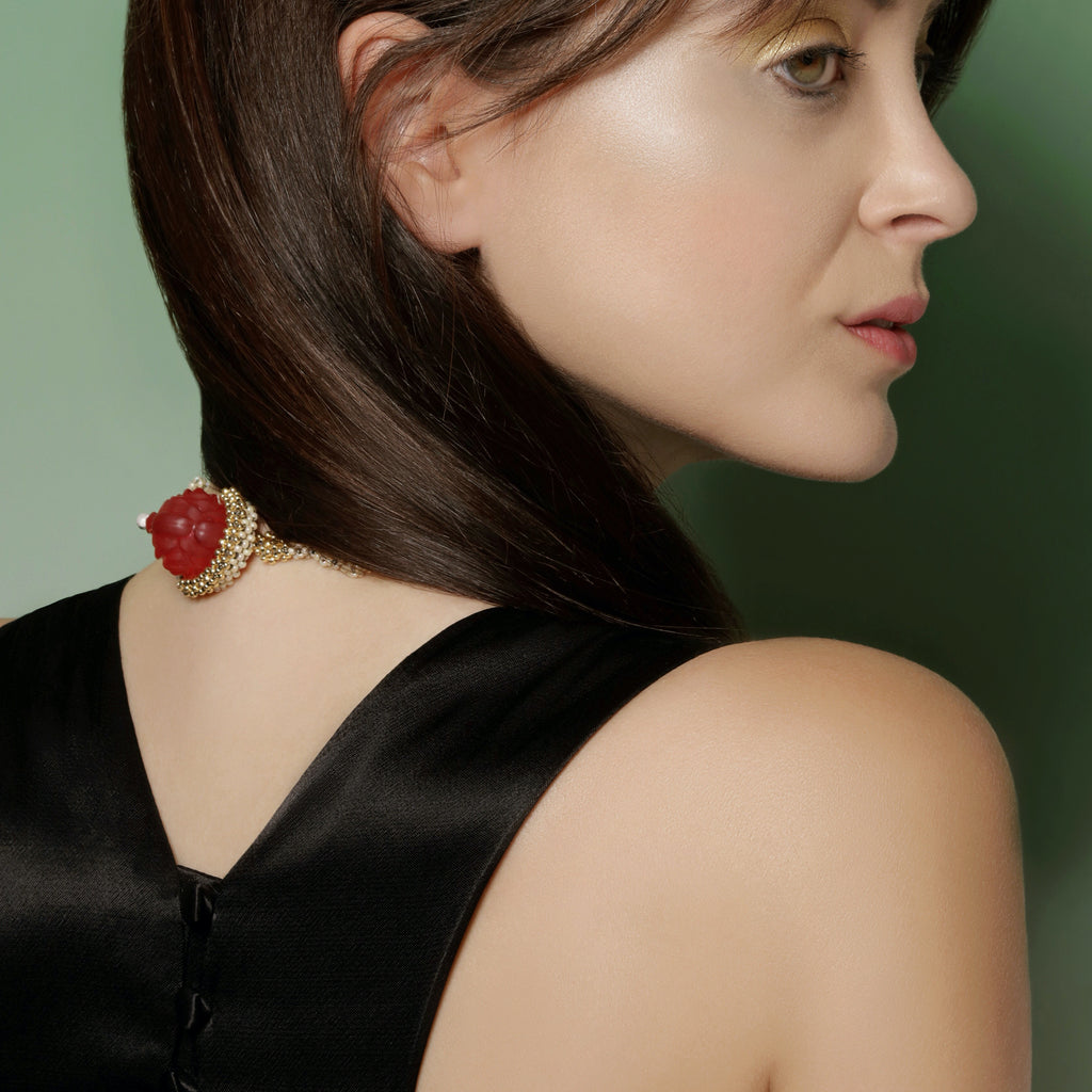 Model wearing Japanese and Vintage Beads Rose Swirls Designer Collar Necklace on IndieFaves
