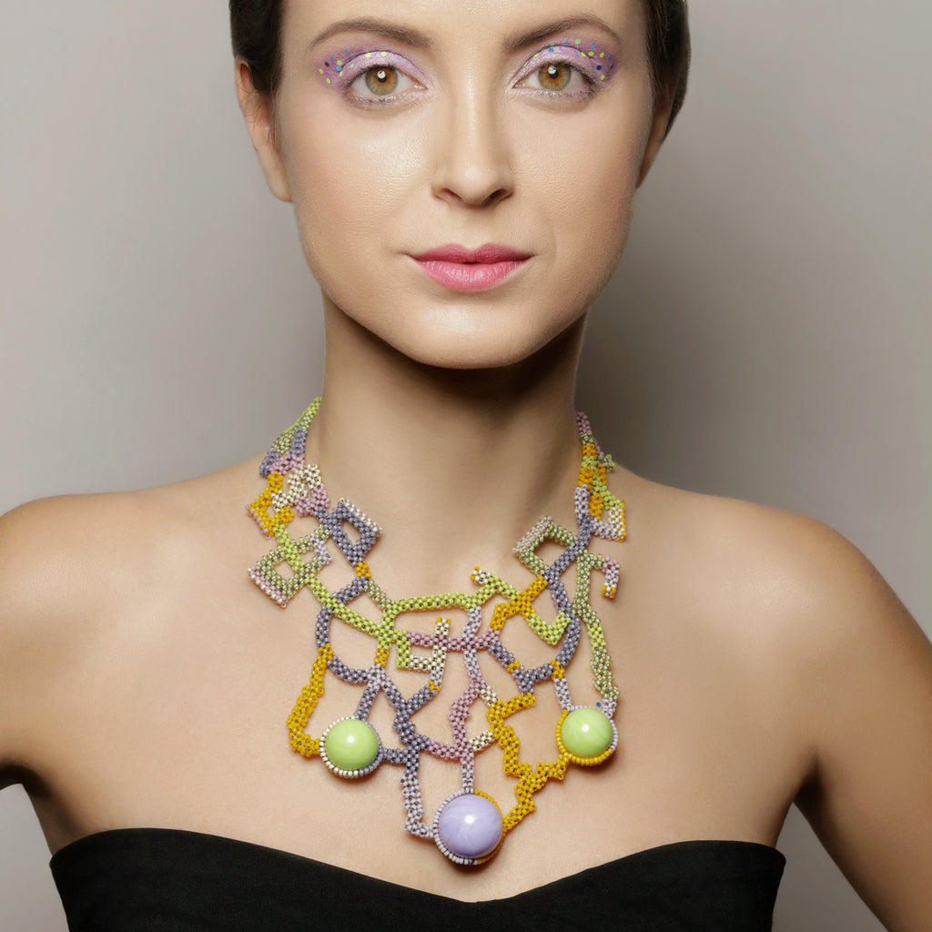 Model Wearing Japanese and Vintage Beads Wiener Symphony Designer Collar Necklace on IndieFaves