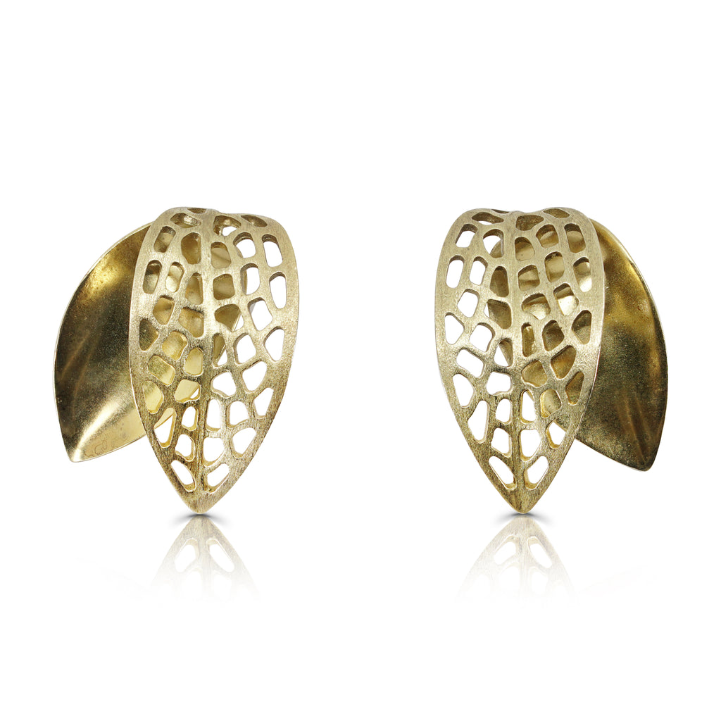 Mara Soriano - Hōzuki 2 Leaf Designer Earrings on IndieFaves