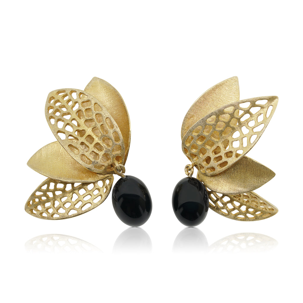 Mara Soriano - Hōzuki Designer Earrings with Black Jade on IndieFaves