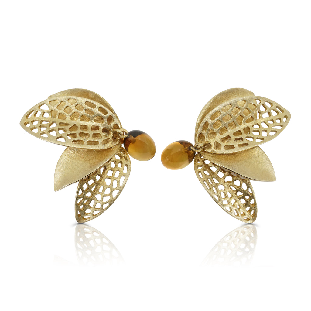 Mara Soriano - Hōzuki Designer Earrings with Cognac Citrine on IndieFaves