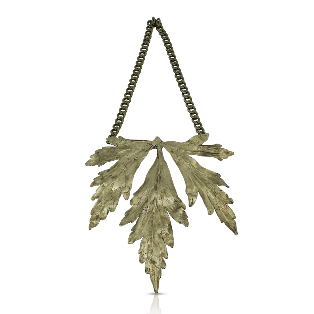Brass and raw emerald necklace by Melisa Mocue on IndieFaves
