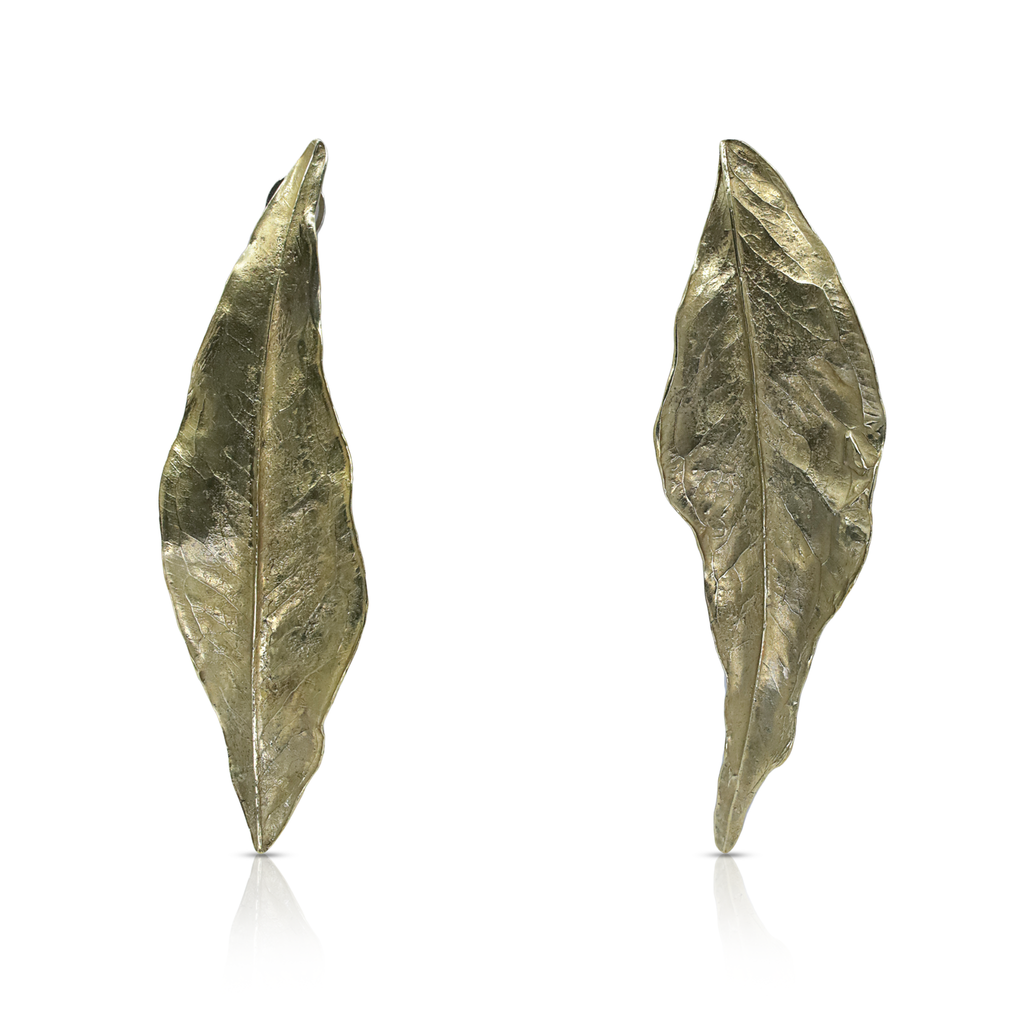 María Elisa M.C. - Brass, silver omega and post Brass Leaf Earrings