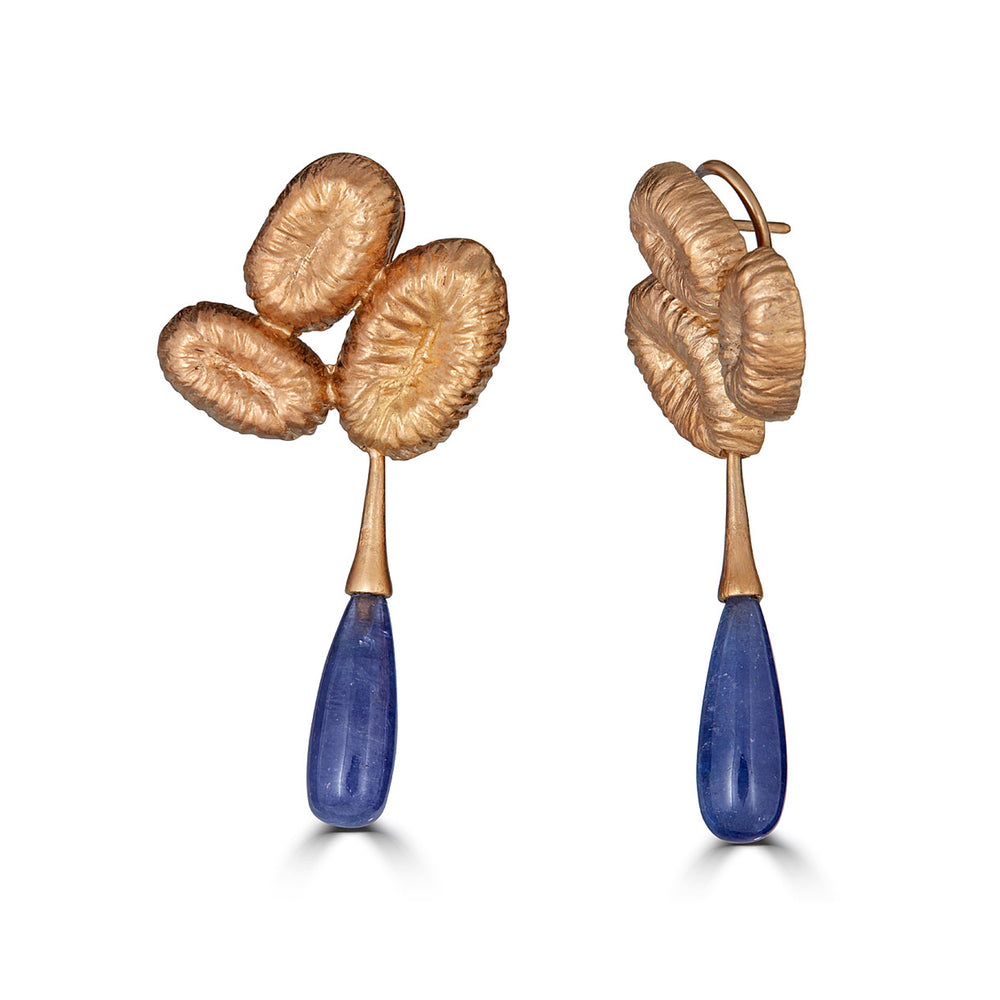 Rent Jewelry - 18K Gold-Plated Silver Designer Dangle Earrings with Tanzanite Drops