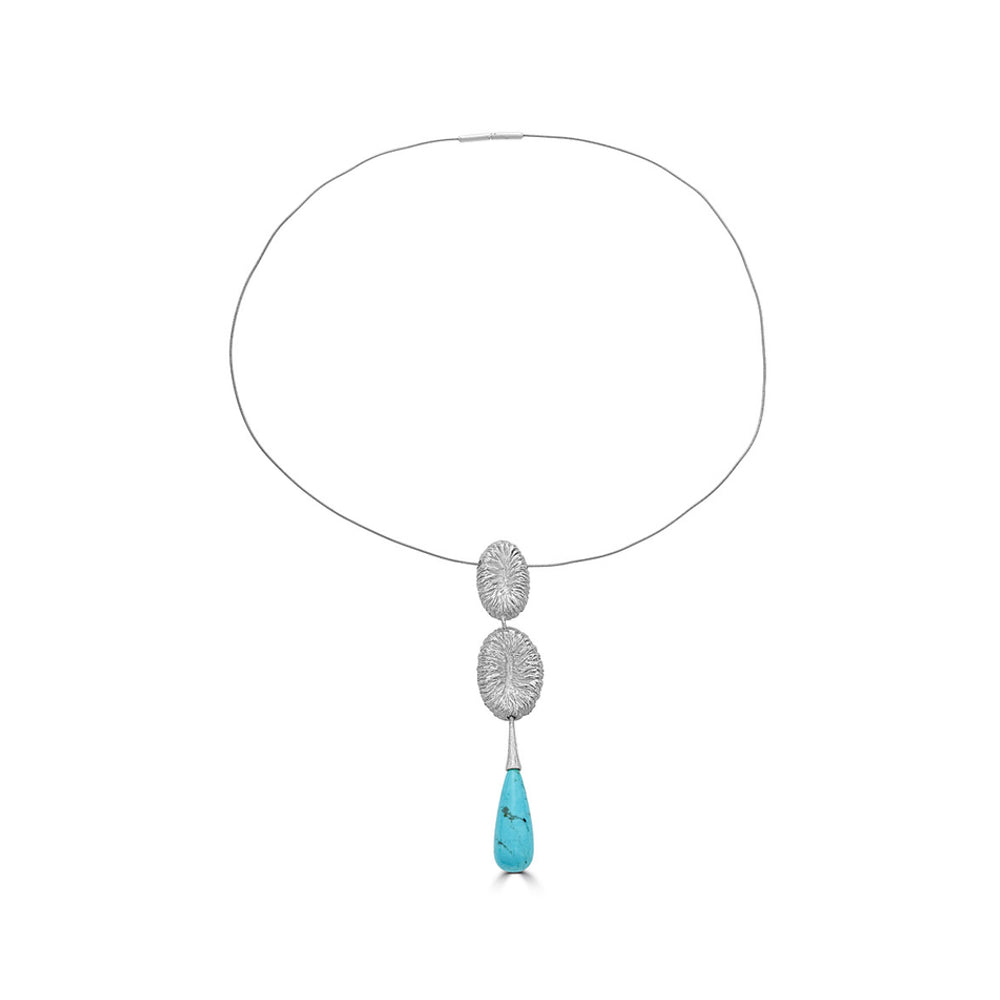 Rent Jewelry - Silver Designer Necklace with a Turquoise Drop