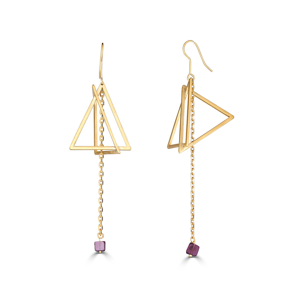 18K Gold-Plated and Garnet Double Triangle Dangle Designer Earrings on IndieFaves