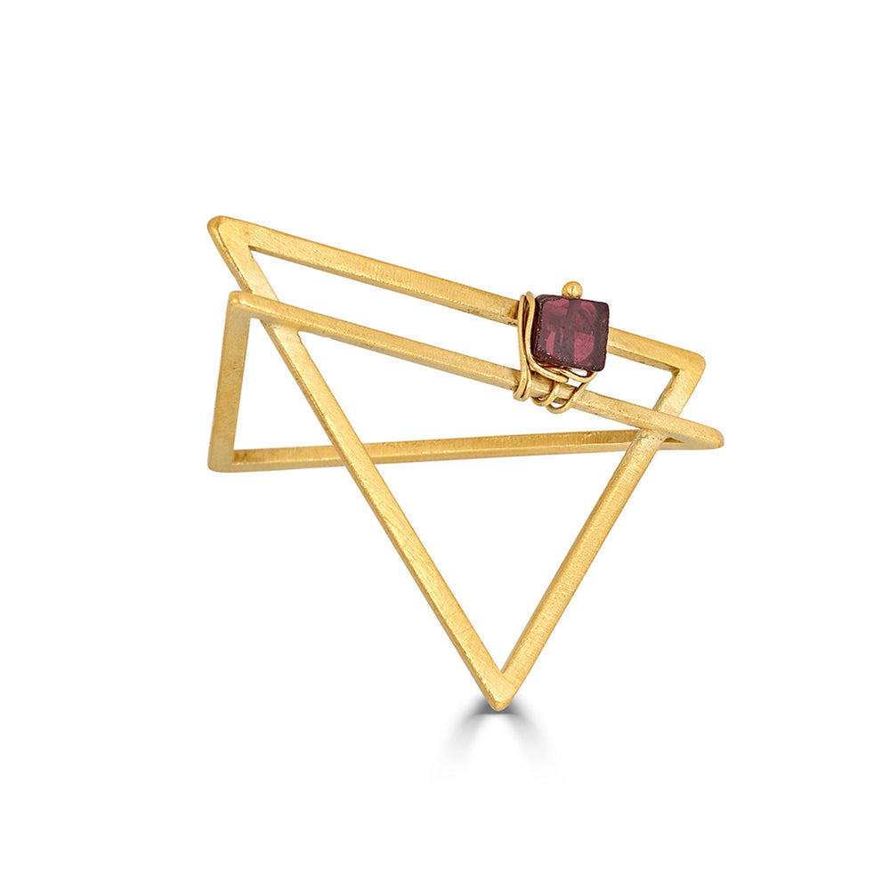 18K Gold-Plated and Garnet Double Triangle Designer Ring on IndieFaves