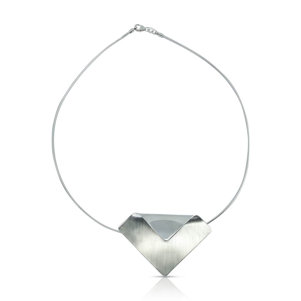 Monom Studio - Sterling Silver Imperfect Square Designer Necklace on IndieFaves