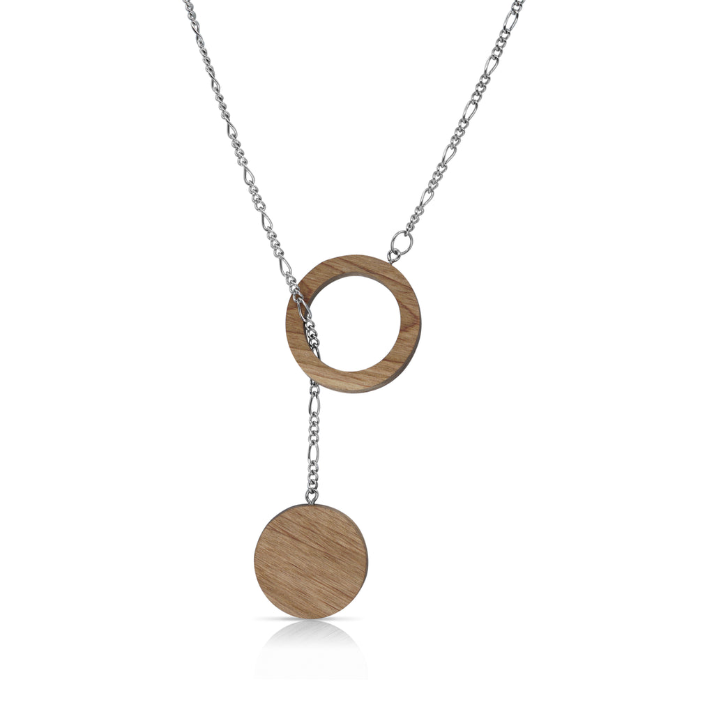 Sustainable BirchWood Wooden Deform Designer Necklace with Chain on IndieFaves
