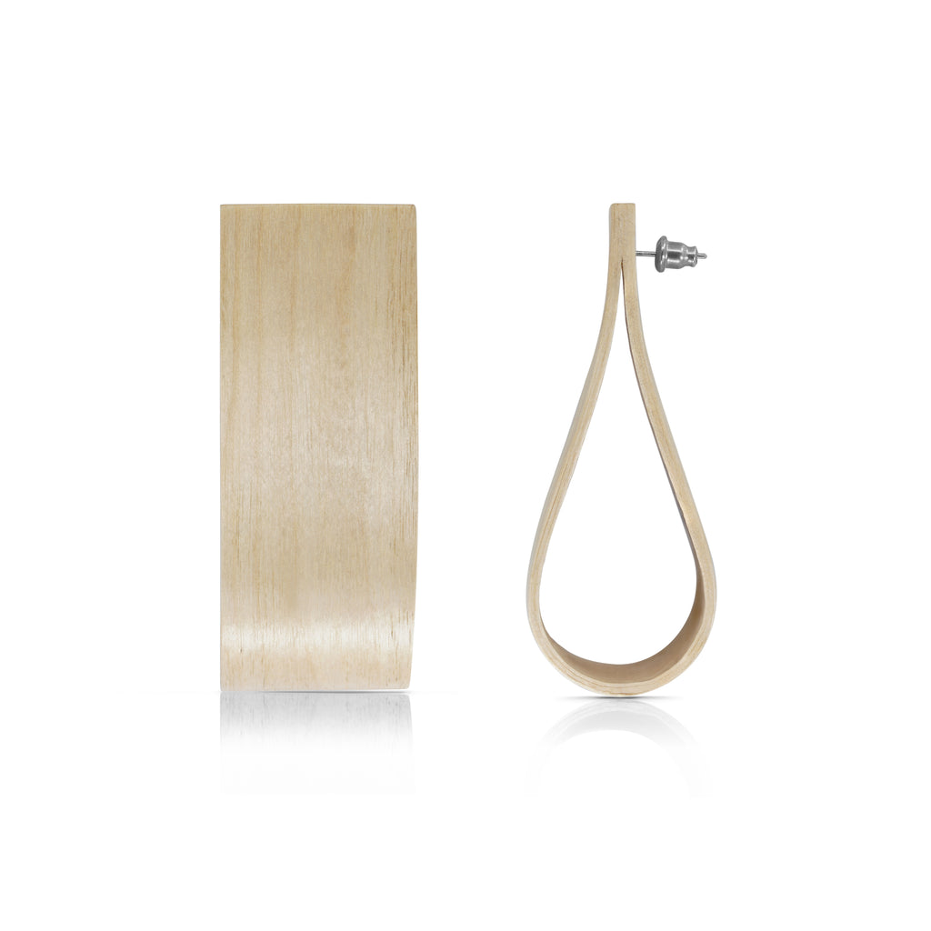 Sustainable BirchWood Wooden Bent Designer Earrings on IndieFaves
