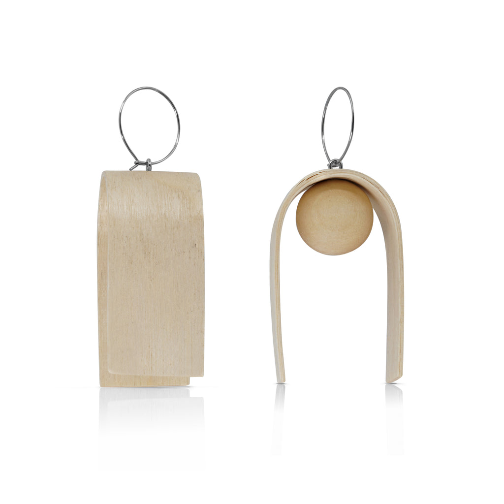 Sustainable BirchWood Wooden Bent Designer Drop Earrings on IndieFaves