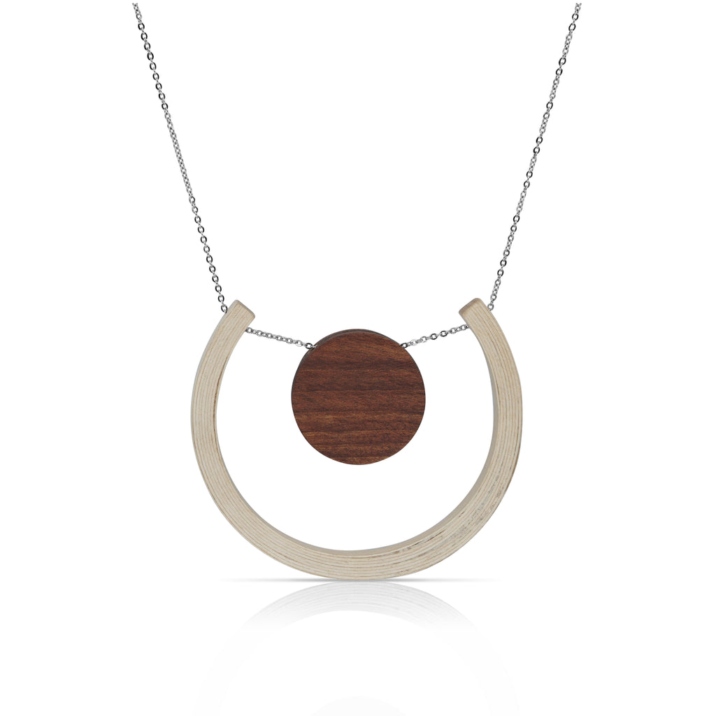 Sustainable BirchWood Wooden Light and Dark Designer Necklace with Chain on IndieFaves