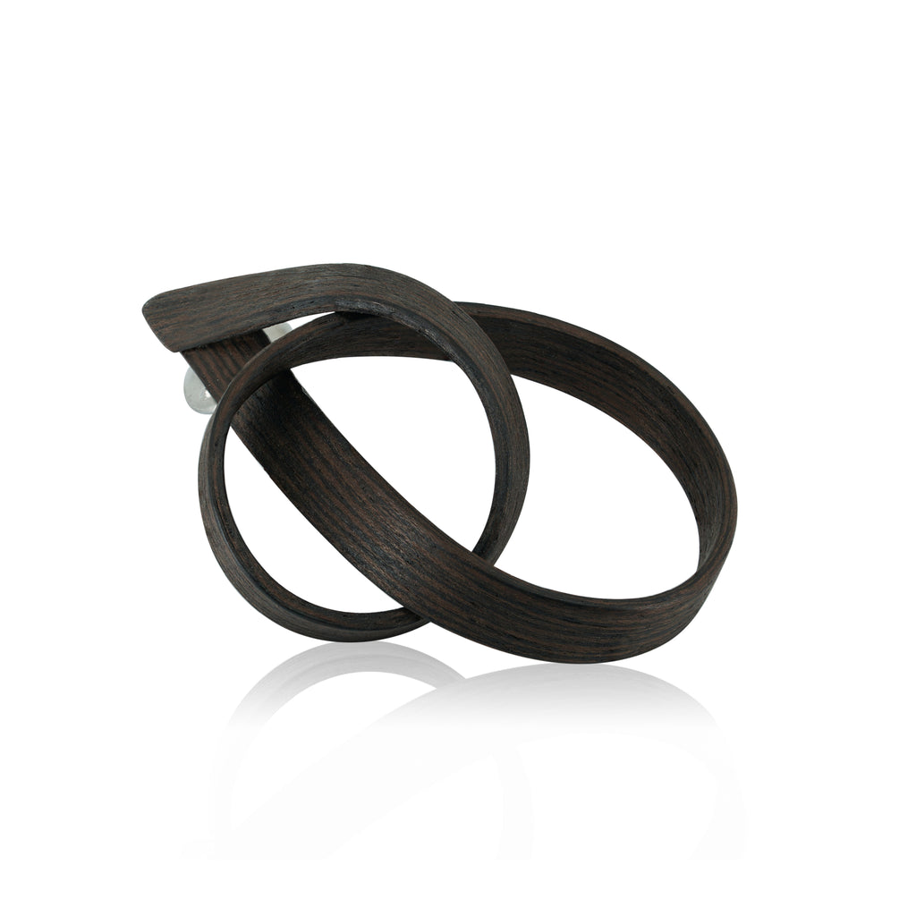 Sustainable Wenge Wood Beta Designer Brooch on IndieFaves