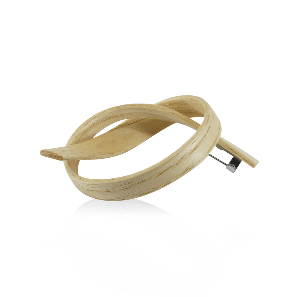 Sustainable AshWood Wooden Alpha Designer Brooch on IndieFaves
