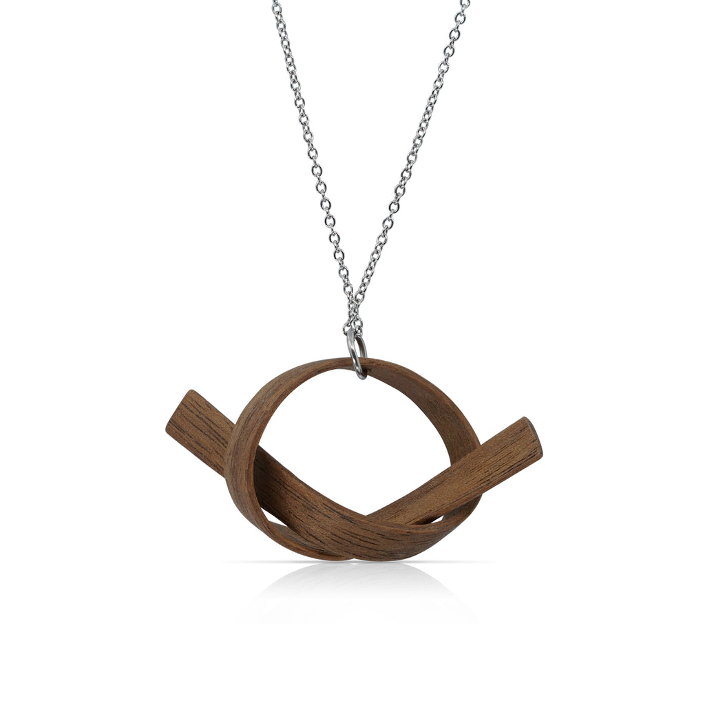 Sustainable Walnut Wood Wooden Alpha Designer Necklace with Chain on IndieFaves