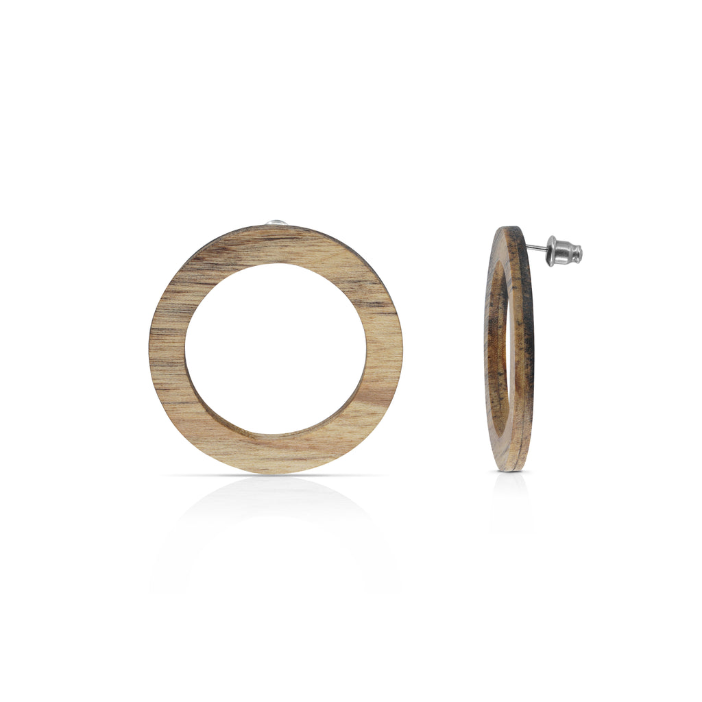 Sustainable Ashwood Wood O Designer Earrings on IndieFaves