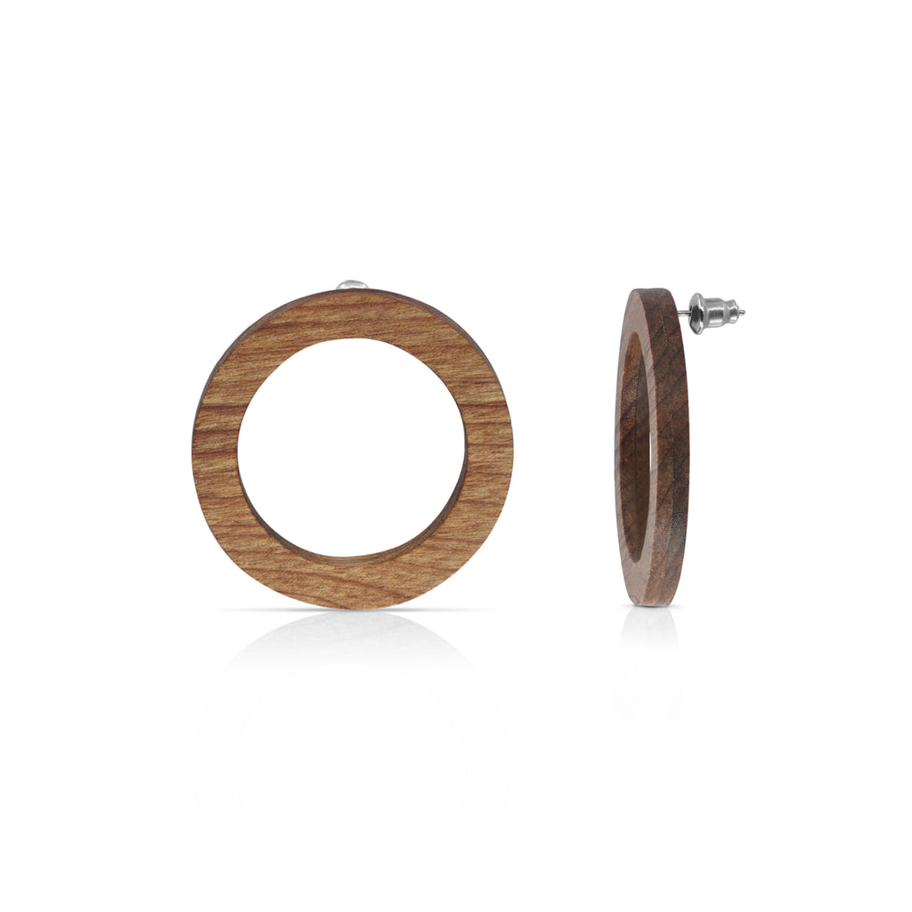 Sustainable Wenge Wood O Designer Earrings on IndieFaves