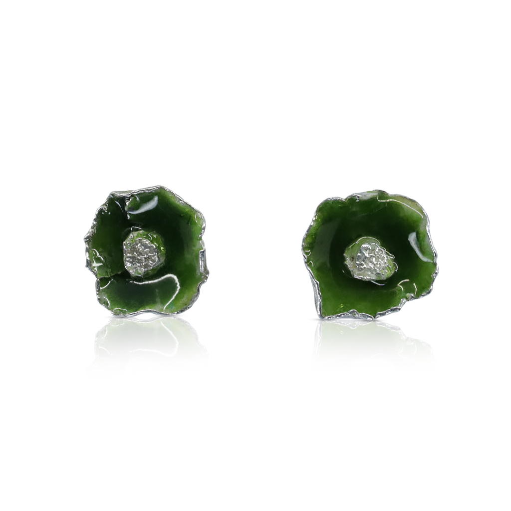 One-Of-A-Kind Silver and Green Enamel Poppy Studs