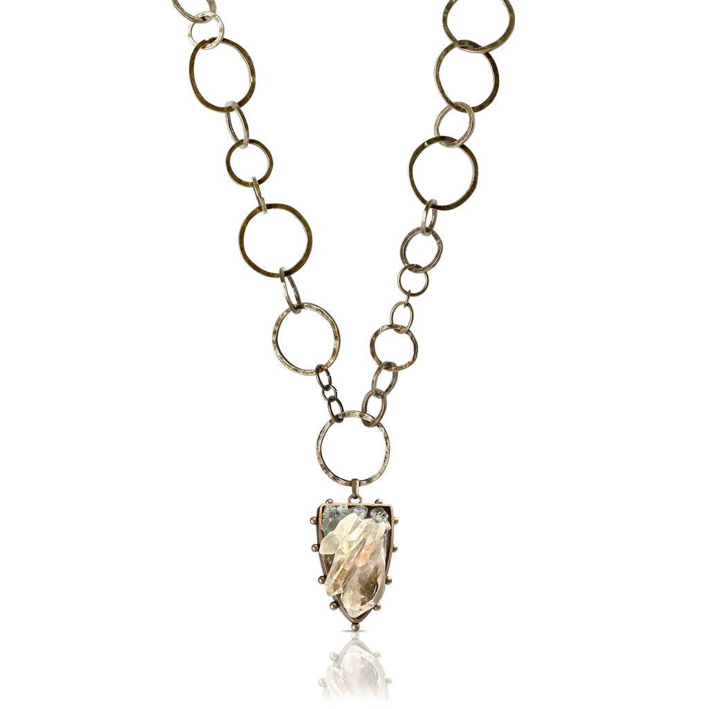 Pauletta Brooks - Celestite and Quartz Necklace With Medieval Chain