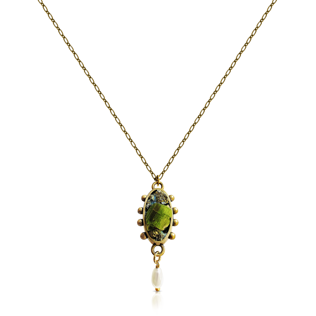 Pauletta Brooks - Green Tourmaline Designer Pendant With Pearl on IndieFaves