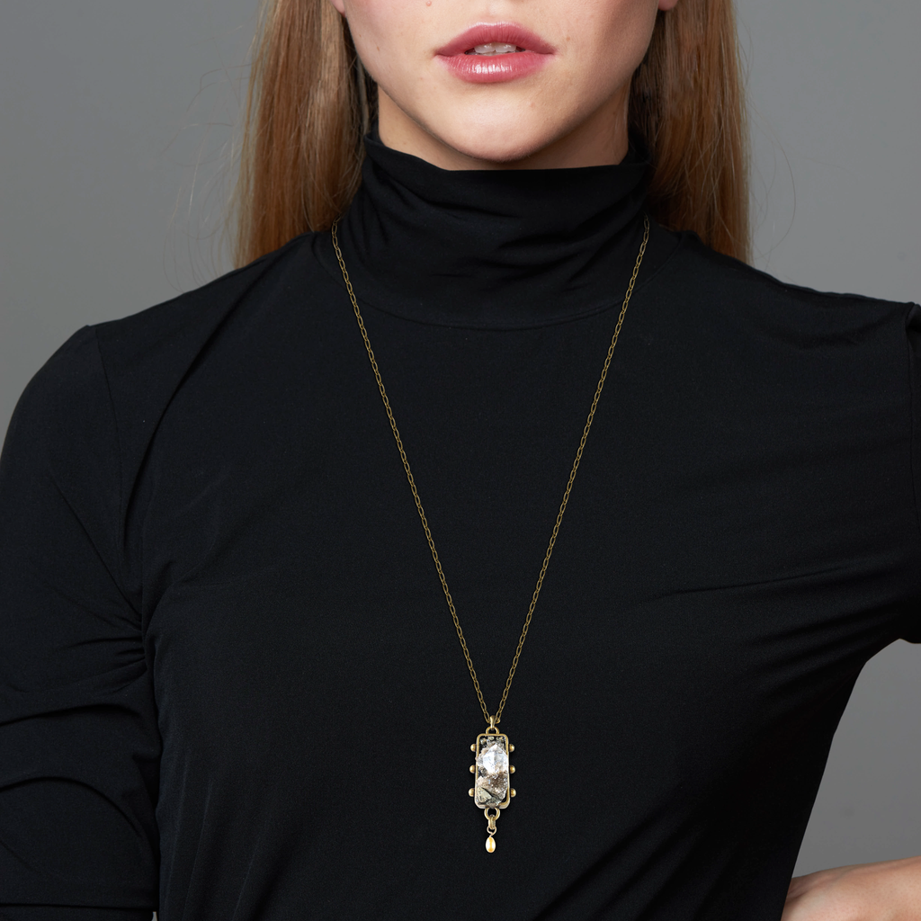 Model wearing Pauletta Brooks - Herkimer Diamonds Designer Pendant With Pearl on IndieFaves
