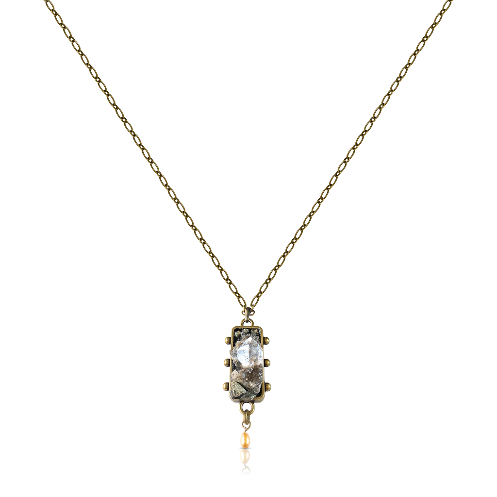 Pauletta Brooks - Herkimer Diamonds Pendant With Pearl