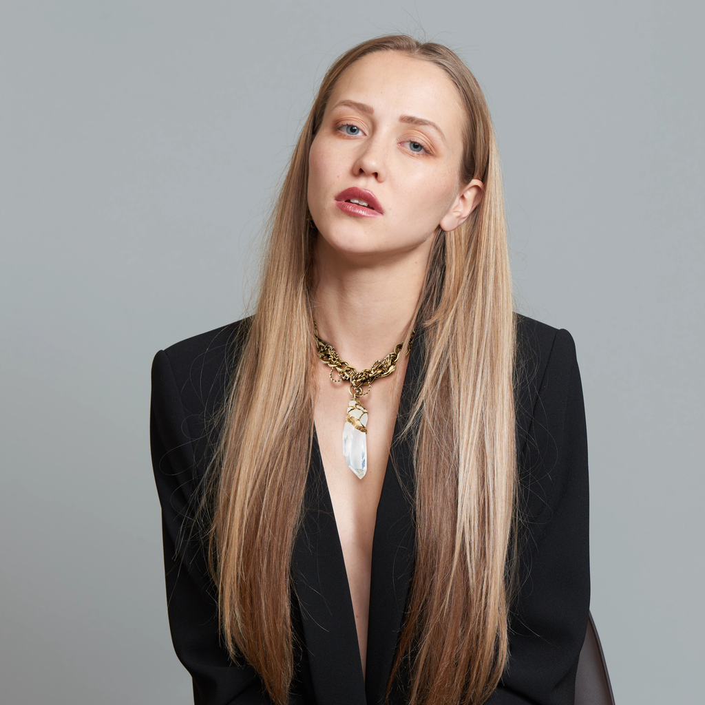 Model wearing Pauletta Brooks - Colombian Quartz Crystal Designer Necklace With Vintage Chain on IndieFaves