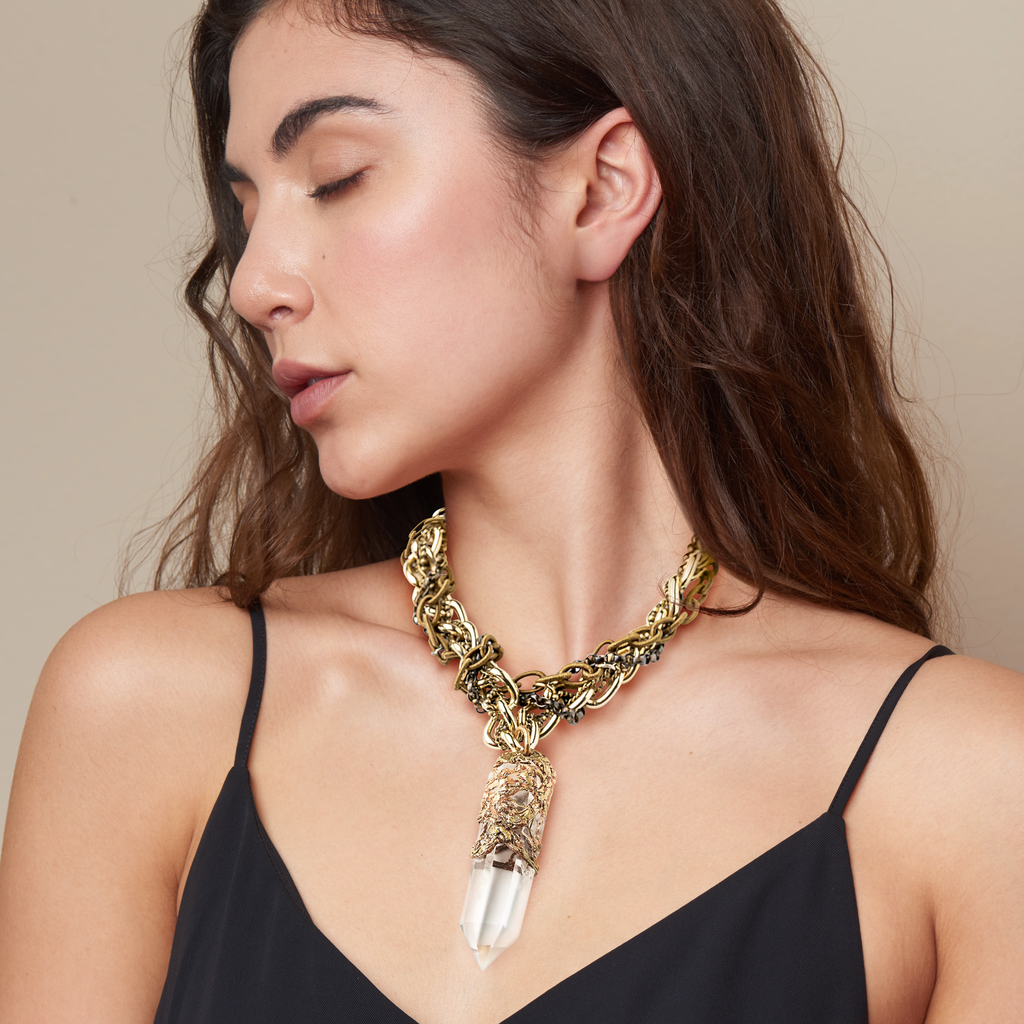 Model wearing Pauletta Brooks - Colombian Quartz Crystal Designer Necklace With Vintage Roped Chain on IndieFaves