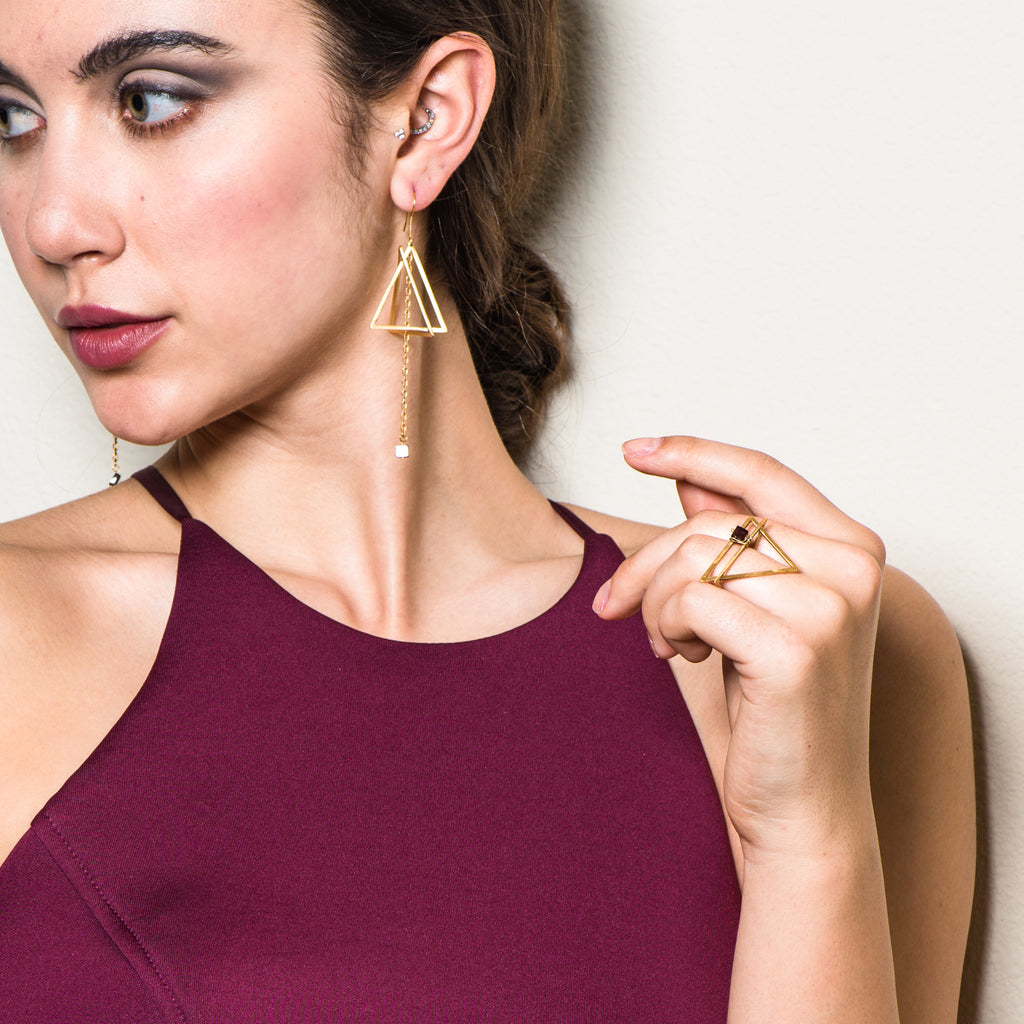 Model wearing 18K Gold-Plated and Garnet Double Triangle Designer Ring on IndieFaves