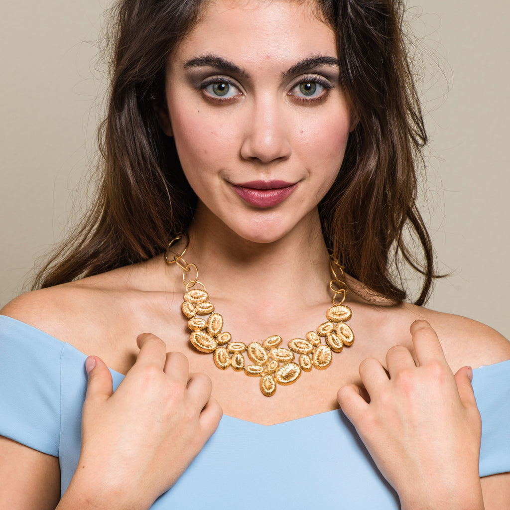 Model wearing 18K Gold-Plated Silver Statement Designer Necklace on IndieFaves