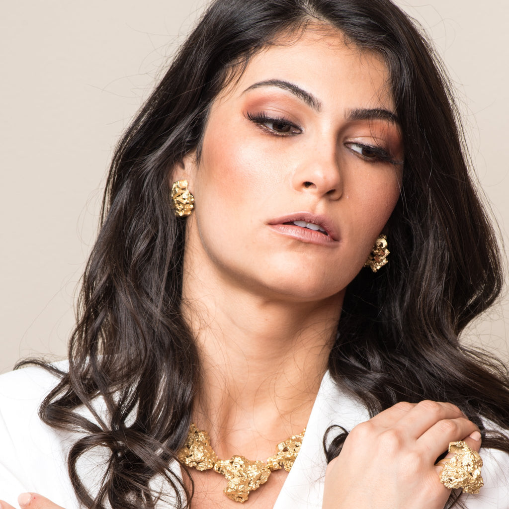 Model wearing 18K Gold-Plated Silver Fluorita Stud Designer Earrings on IndieFaves